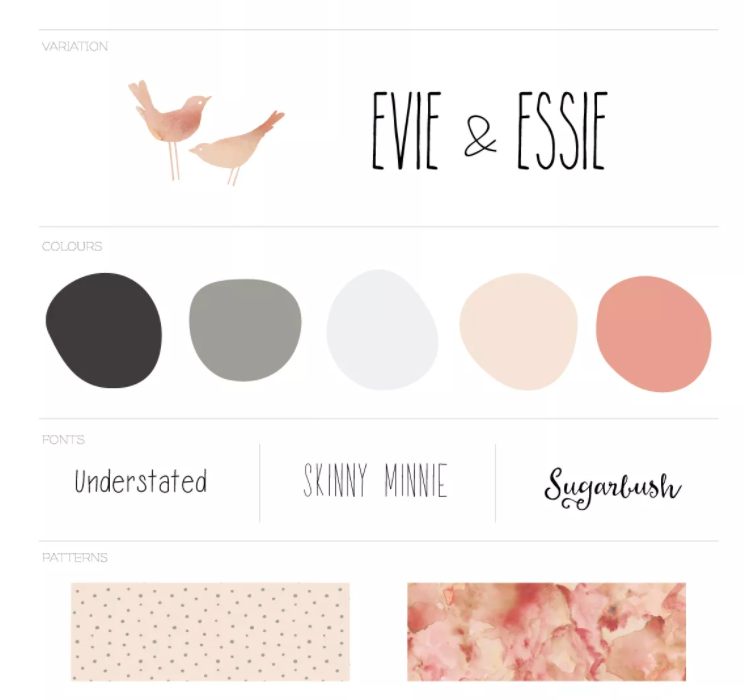Evie and Essie branding by A Lined