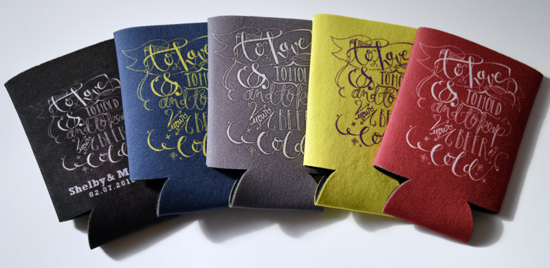 You can change your background color to pretty much all of our wedding koozie templates to suit your wedding colors...