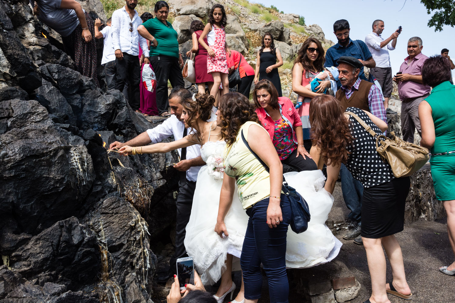 A newly married couple visits the source of the Munzur with their wedding party.