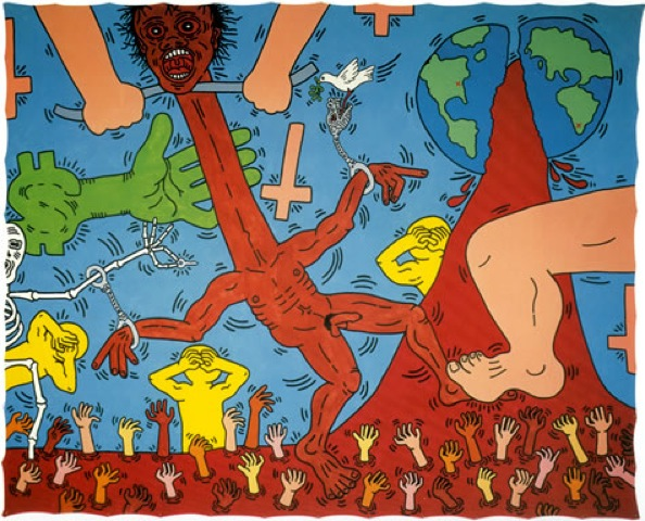 Michael Stewart – USA for Africa, 1985; Enamel and acrylic on canvas, 295 x 367 cm Courtesy of Keith Haring Foundation