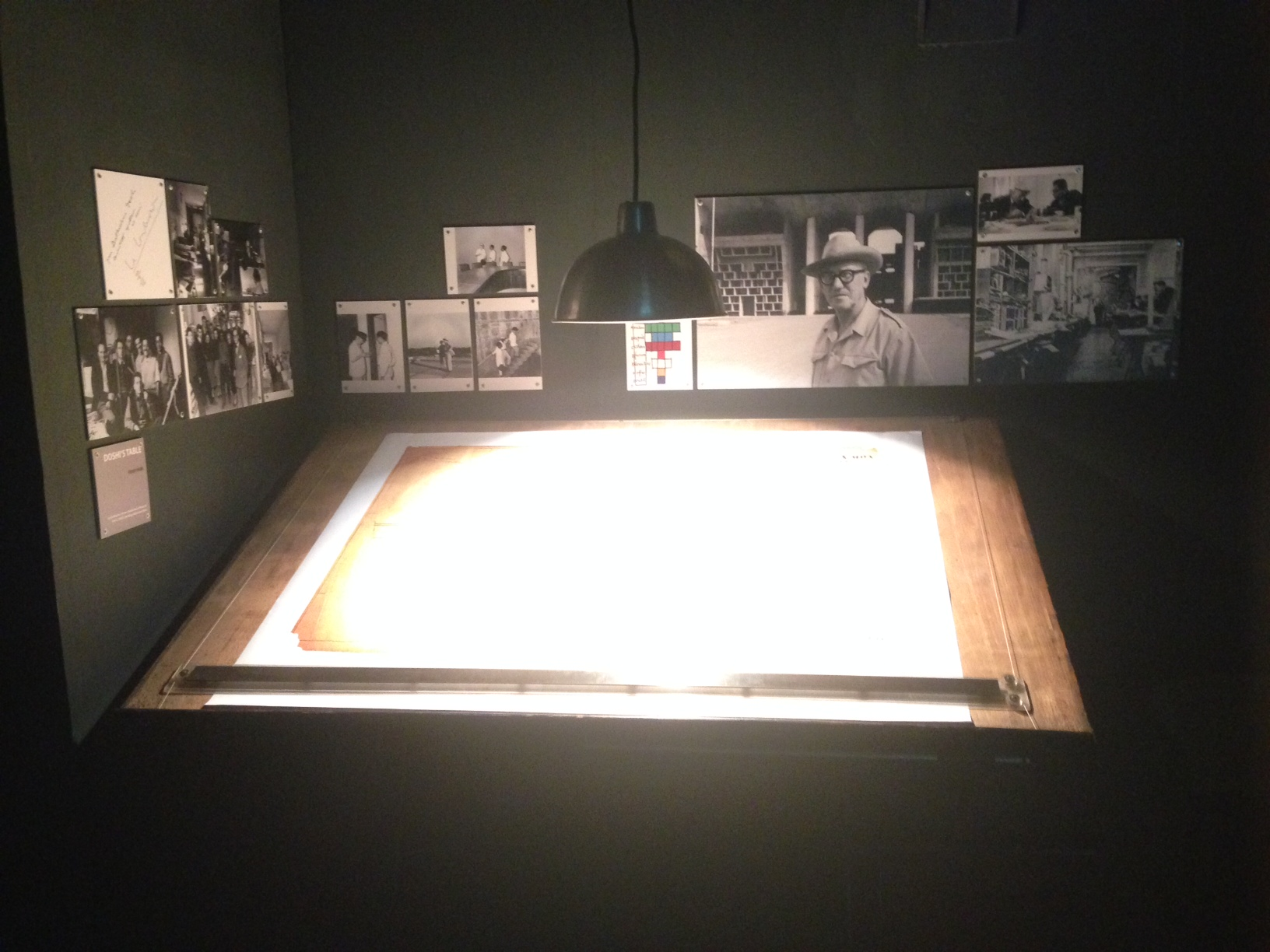 A part of the display (architectural drawings with photographs of Doshi at different sites