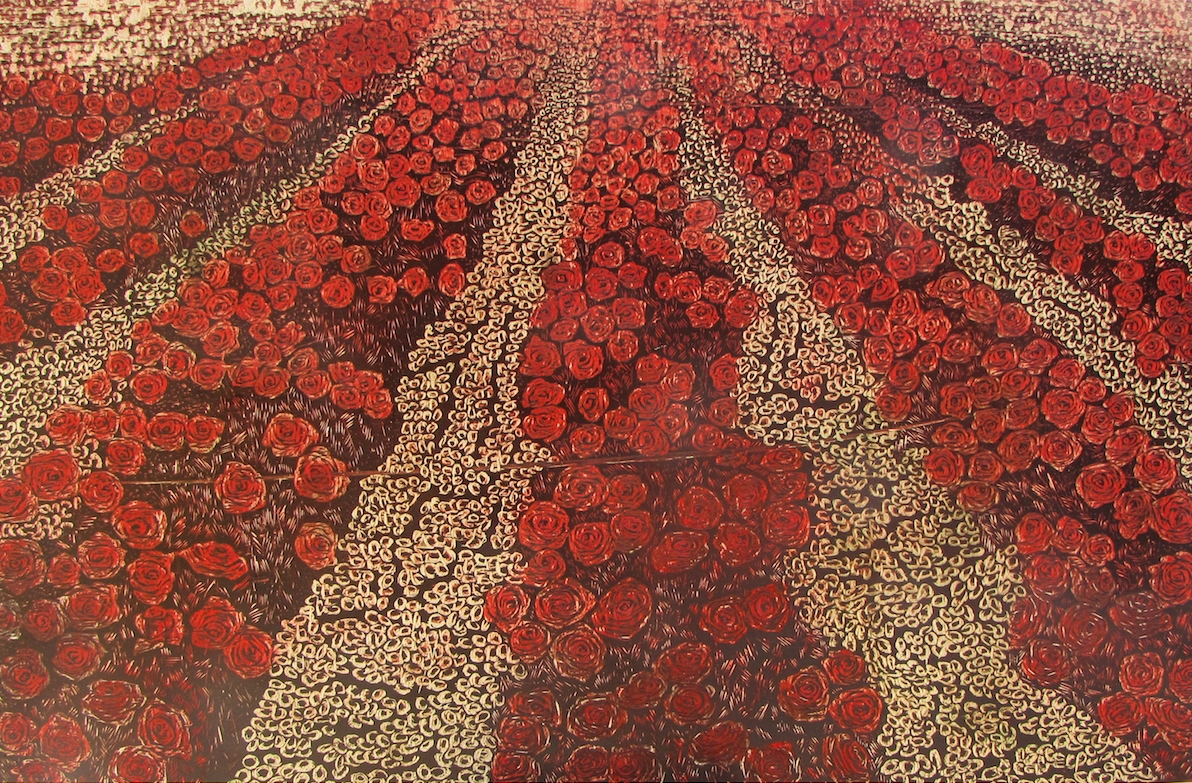 "Lost on red valley, Woodblock print, 38""x58"", 2014"