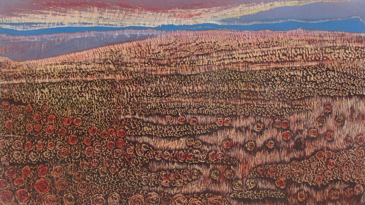 "Silent Fields- 3, Woodcut block, 27""x16"", 2014"