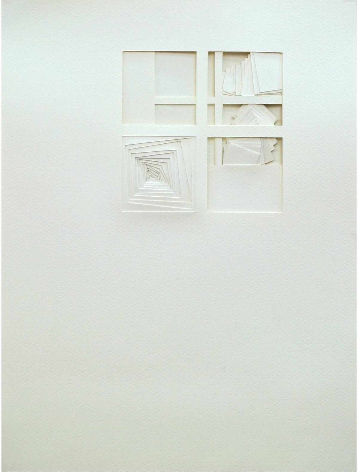 """Finestre Finestra (Windows in Window), Paper on paper, 12""""x16"""", 2013"""