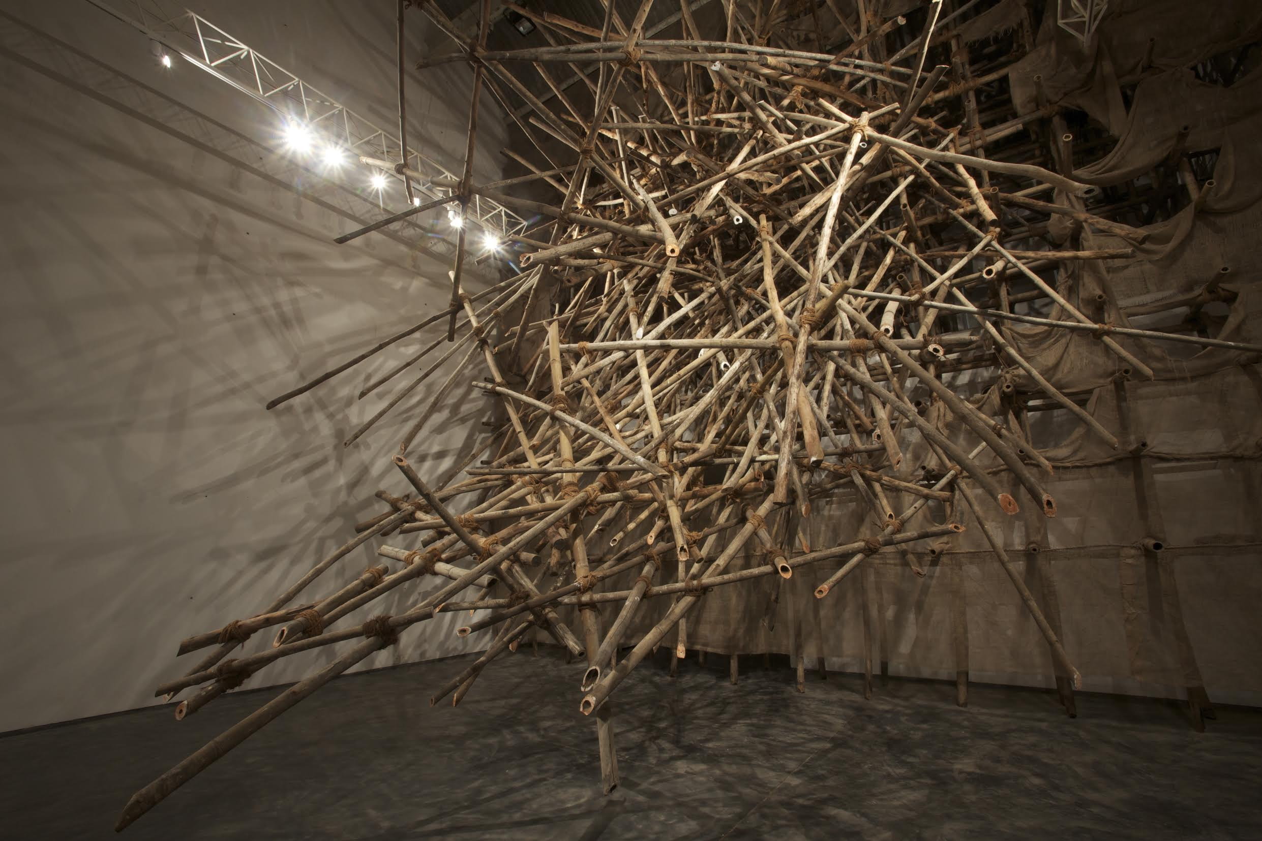 Pubic,  Bamboo, chalk, red clay, hessian cloth, rope, Site-specific installation,  28 x 33 x 30 feet