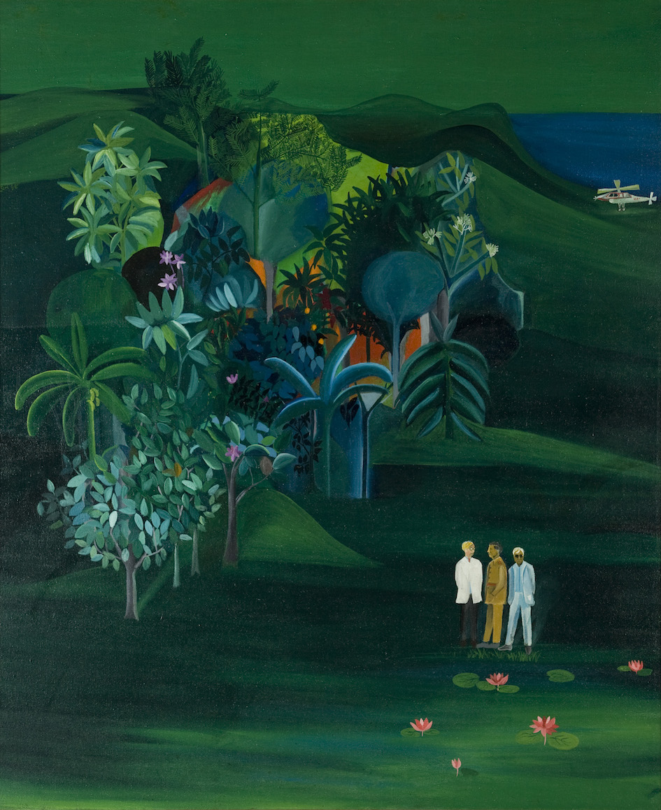 Buphen Khakhar, 'American Survey Officer', 1969, oil paint on canvas, 106 x 89 cm. Image courtesy Collection of Kiran Nadar Museum of Art.