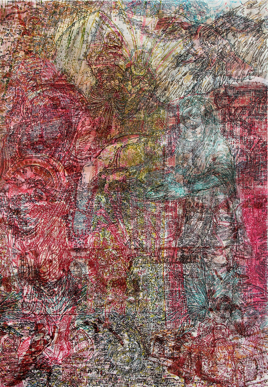 V. Ramesh, 'Saavadhan', 2016, oil on canvas, 5 x 7 in. Image courtesy Gallery Threshold.