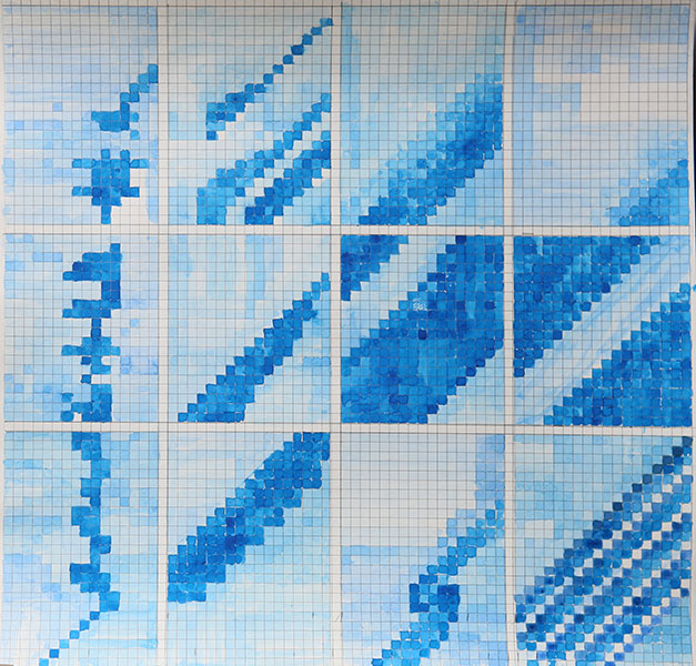 """From the series  Patterns of a Tactile Score , Watercolour on paper, 18.5"""" x 18.5"""", 2017 – 2018"""