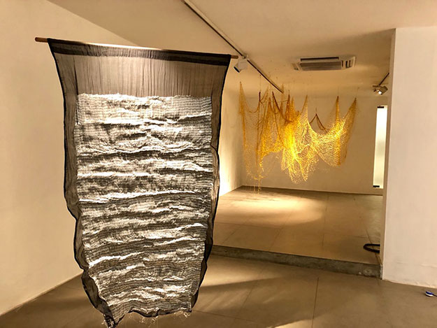 Manifesto , Jamdani (Cotton), Silver yarn. Hand Embroidery, 40 x 70 inches, 2017   Untitled , Golden thread, 240 x 240 x 120 inches, 2017