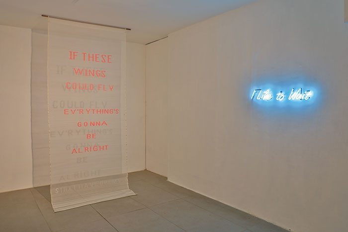 I Still Have Dreams , Jamdani (Cotton), Hand Weaving, 120 x 47 inches, 2017   I Like to Wait , Neon light, 5 x 30 inches, 2017