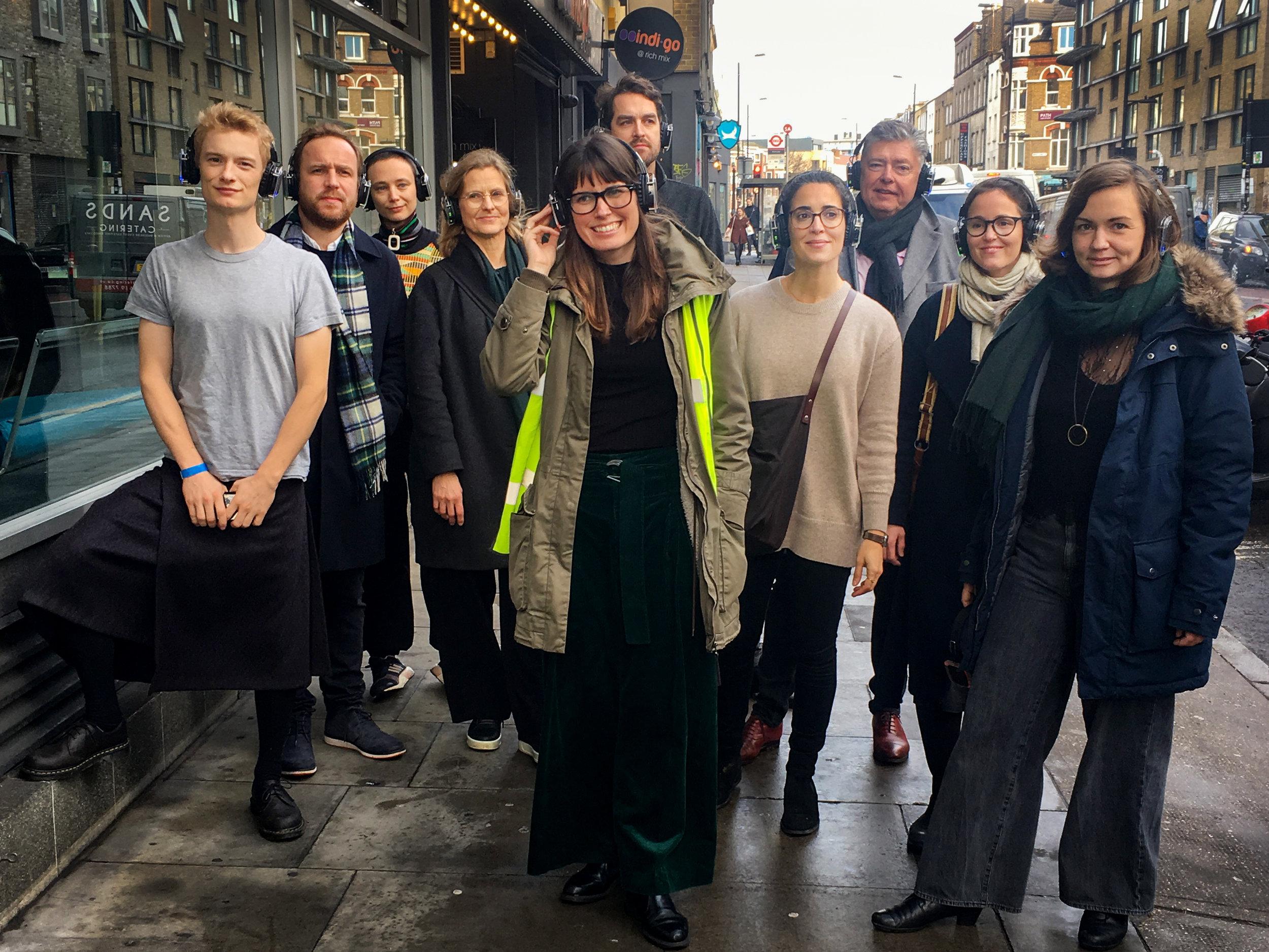 """Oslo arkitekturtriennale og Oslo Byes Vel på """"Audio walk"""" i forbindelse med seminaret """"Planning 2052"""" i London i januar."""