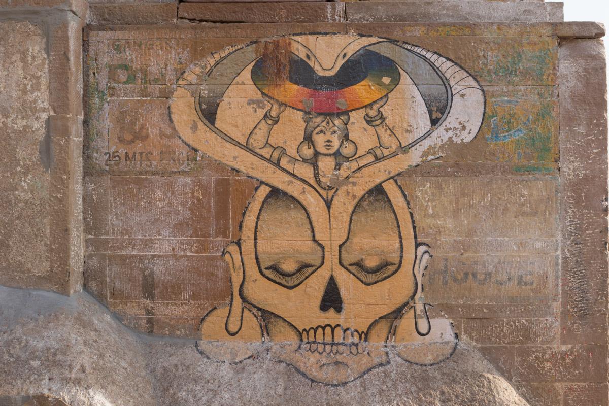 Mural by the main funeral gat at Varanassi.