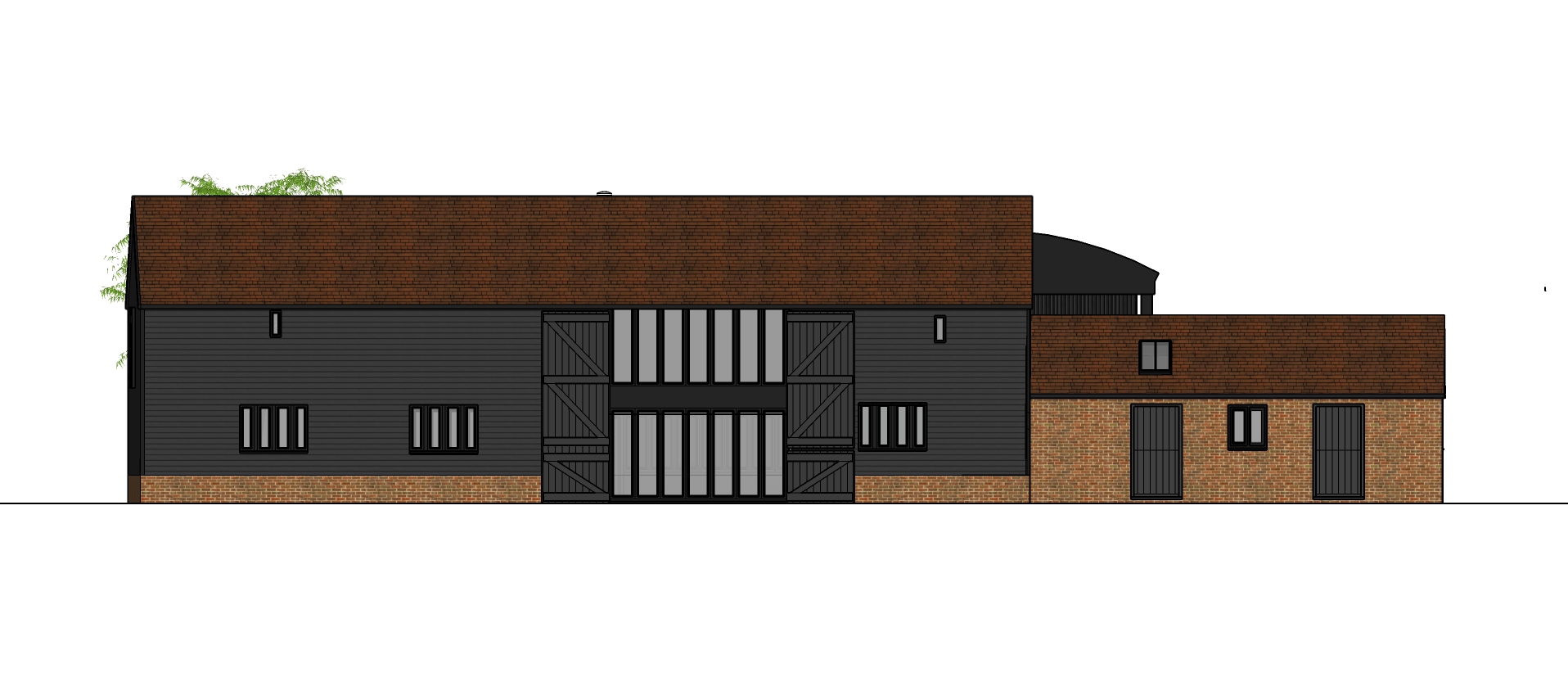 Side view of Swavesey residential barn conversion by Harvey Norman Architects