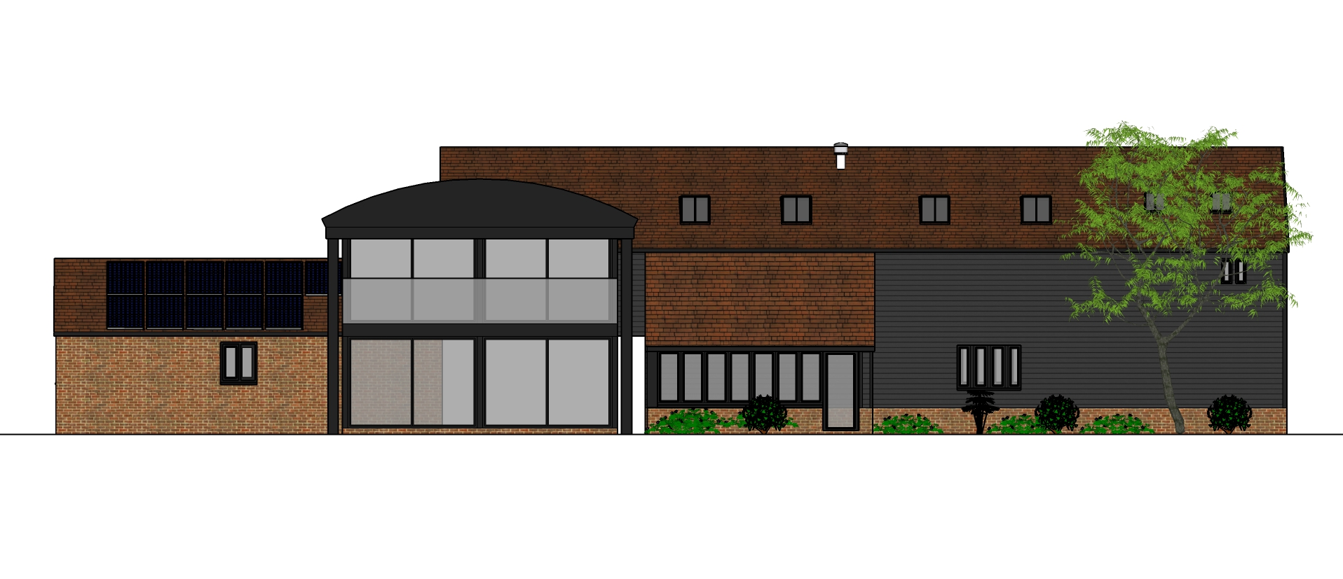 Modern balcony and traditonal brick of Swavesey residential barn conversion by Harvey Norman Architects