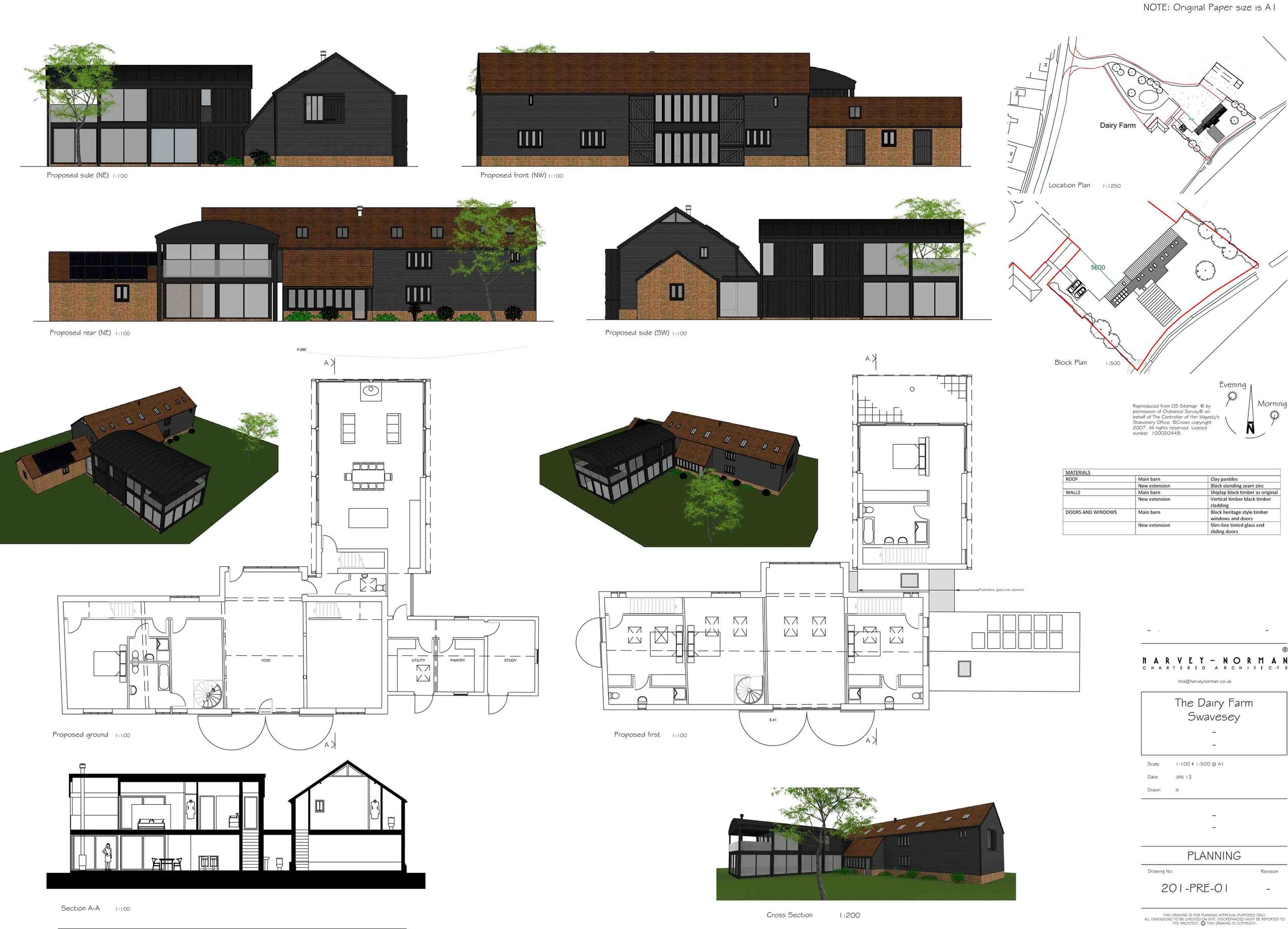 Architects plans and drawings for Swavesey residential barn conversion, by Harvey Norman Architects