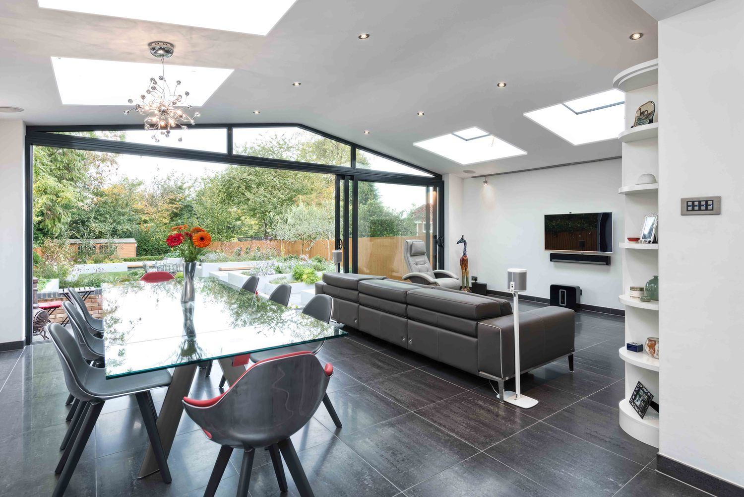 The dining room of a modern house extension by Harvey Norman Architects St Albans