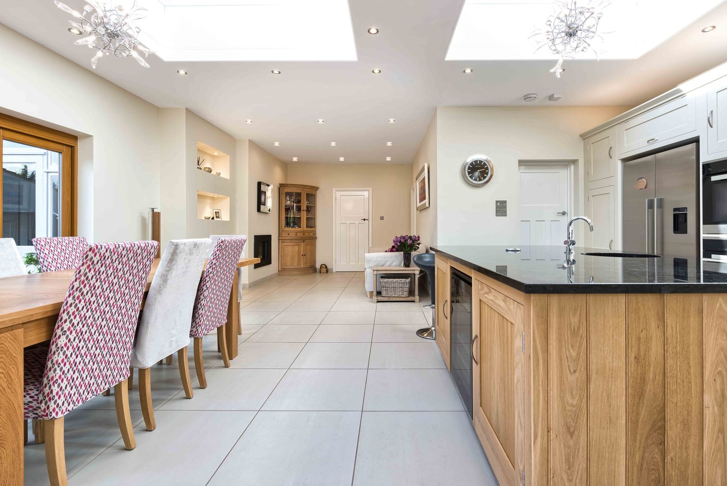 The dining room and kitchen view a house extension by Harvey Norman Architects St Albans