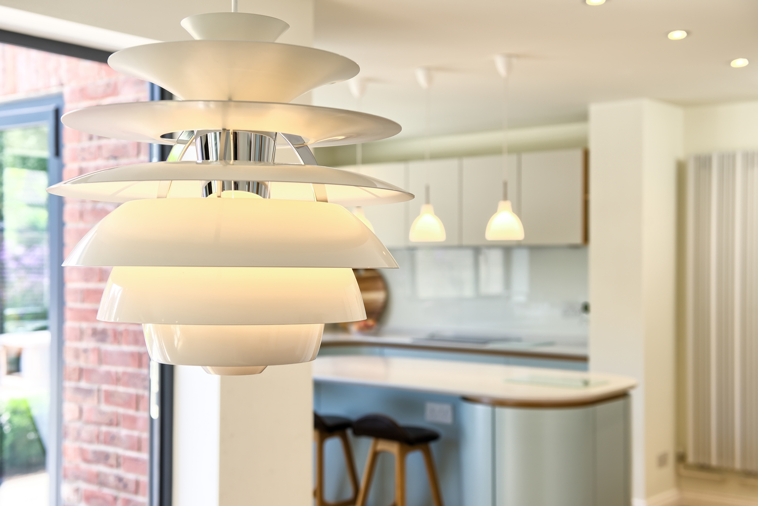Closeup of the lighting design of a Scandinavian house extension by Harvey Norman Architects Bishop's Stortford