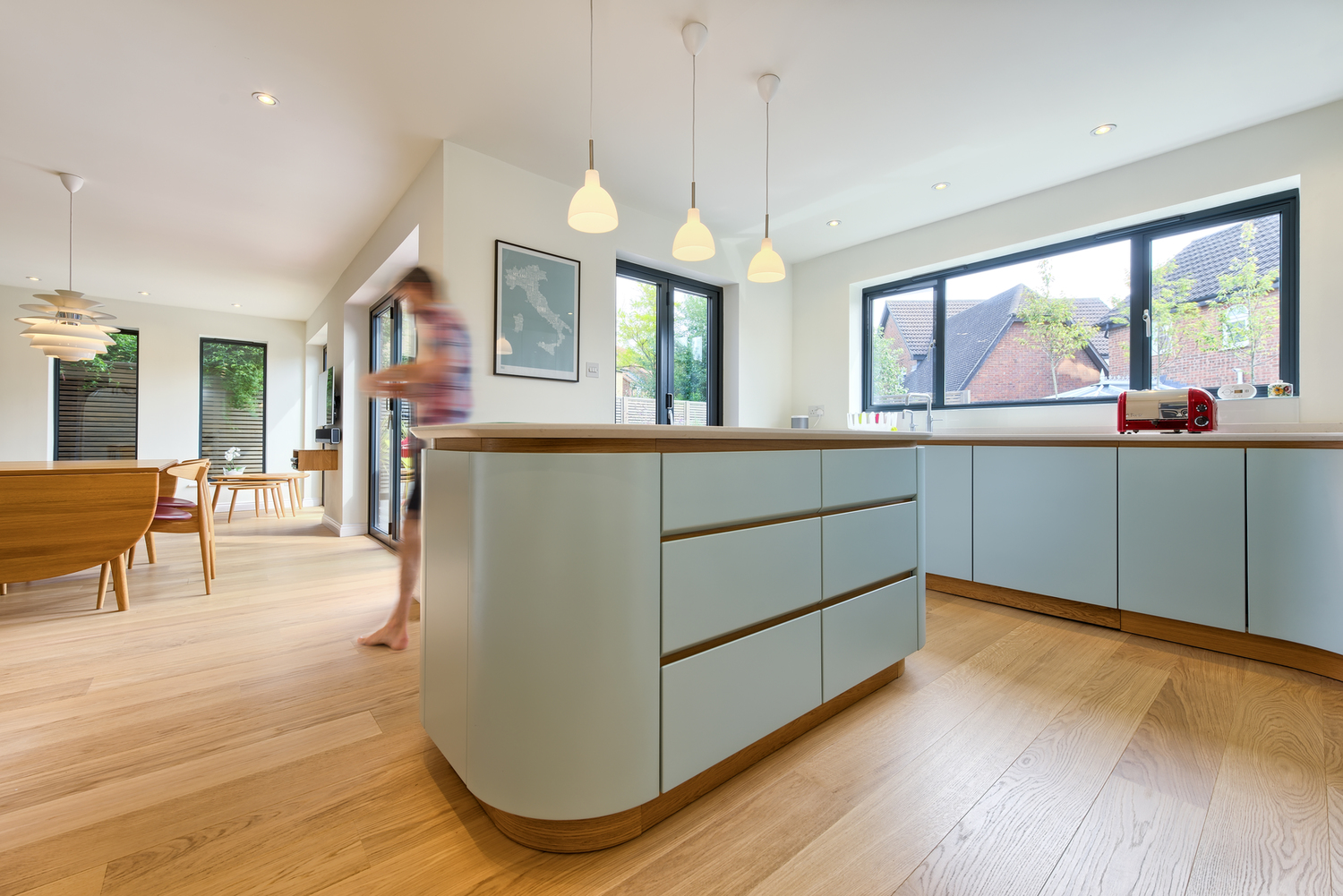 Breakfast bar of a Scandinavian house extension by Harvey Norman Architects Bishop's Stortford