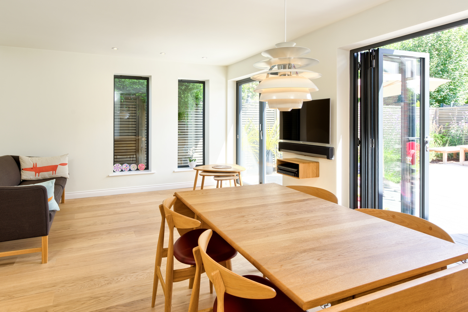 Folding wooden table and sliding doors