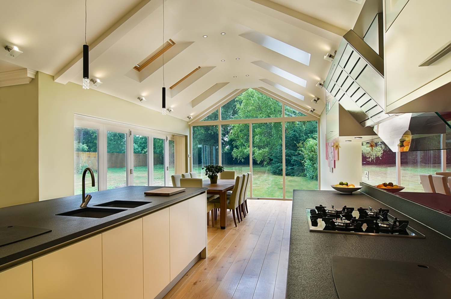 Kitchen counter of a house extension by Harvey Norman Architects Cambridge