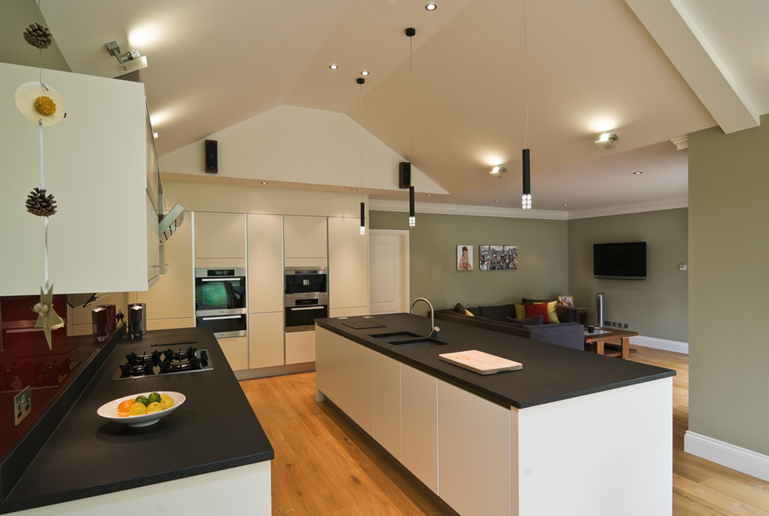 Kitchen view of a house extension by Harvey Norman Architects Cambridge