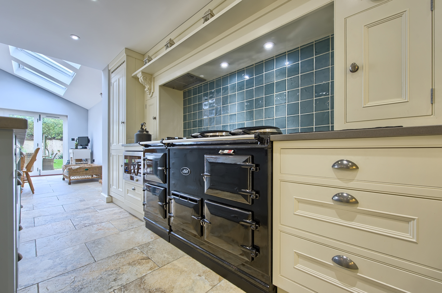 Kitchen aga of a house redesign by Harvey Norman Architects Cambridge