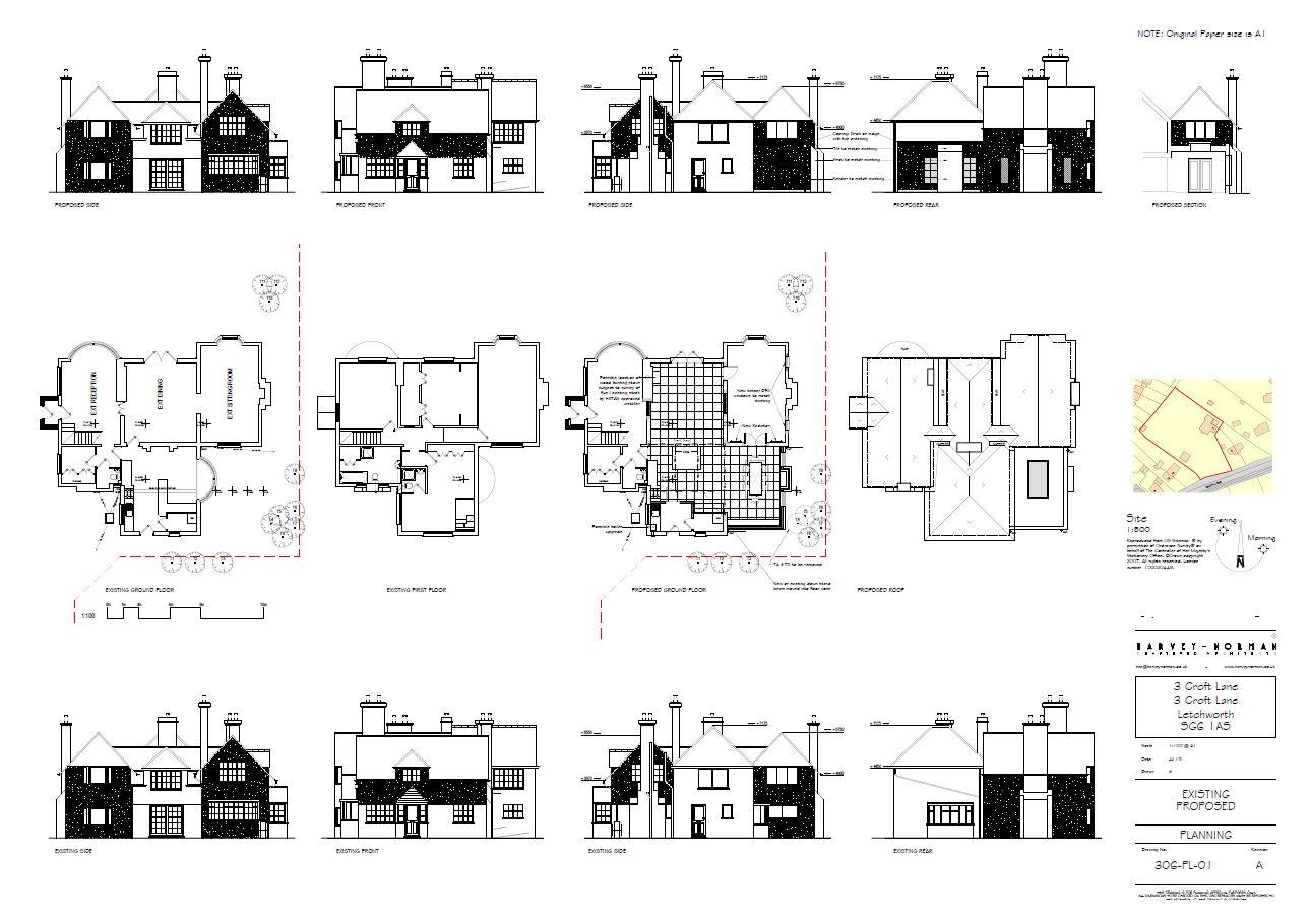 Architectural plans for original 1905 house refurbishment in Letchworth Garden City