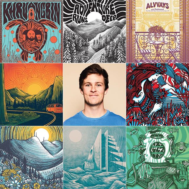 Some sections of a few of my favorite projects from the last year or so. Also me 🙋‍♂️ #artvsartist  #artvsartist2019 #illustration #art #nature #landscape #screenprinting #trippy #vermont #gigposters #artistsoninstagram