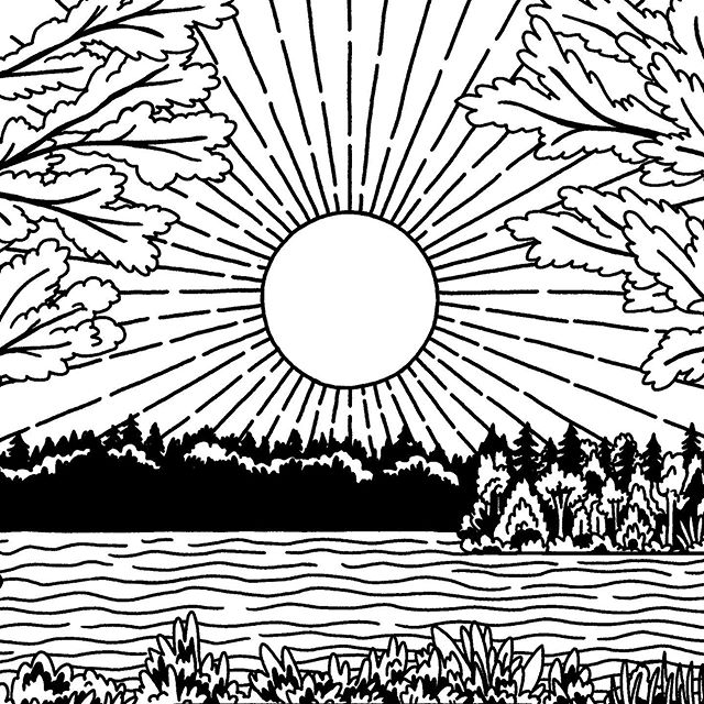 A little #wip landscape  #illustration #nature #art #spring #sun #lake #mountains