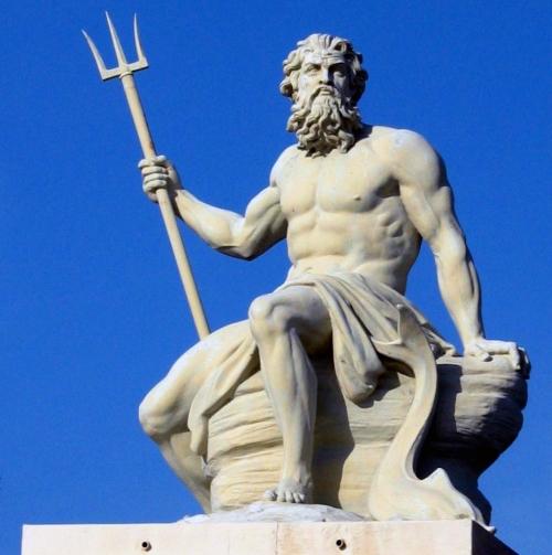 Neptun (Poseidon) er havguden i romersk mytologi. I kunst fra antikken avbildes ofte Neptun som en eldre mann med skjegg og luftige gevanter. Han er nesten alltid gjengitt med en trefork (Neptungaffel) i den ene hånden.  Neptungaffelen er gjennom tidene brukt i både bumerker og våpenskjold.I logoen til Neptun Kajakk er Neptungaffelen gjengitt slik at den også blir et tverrsnitt av en kajakk.