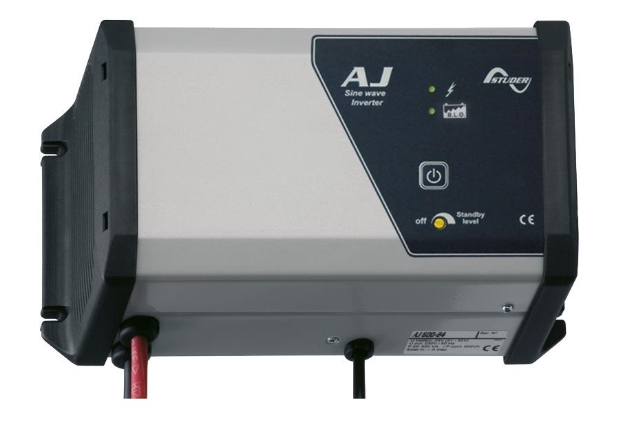Inverters - The Studer power inverter is connected to a vehicle mounted 12V or 24V battery and converts the DC power into 230V AC power. The AJ series of power inverters from Studer provide a pure sine wave output with extremely high efficiency. There is a range of different sizes to meet your specific power needs and they are available in 12V and 24V input voltages.