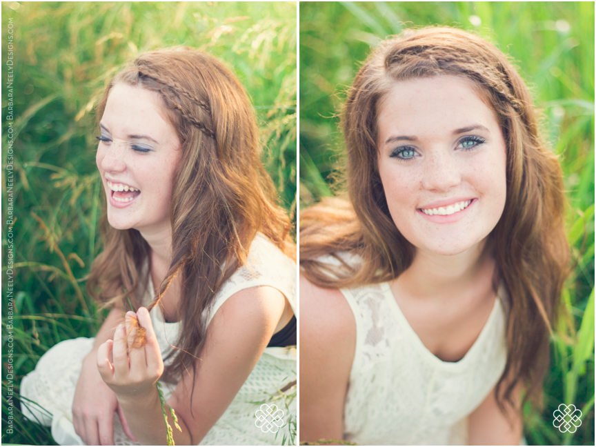 adorable senior girl in a field