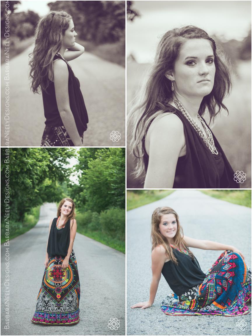 senior girl down a backroad