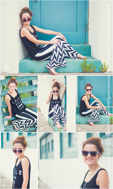 fashion inspired senior girl on city street