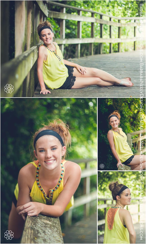 Senior girl modeling on a footbridge