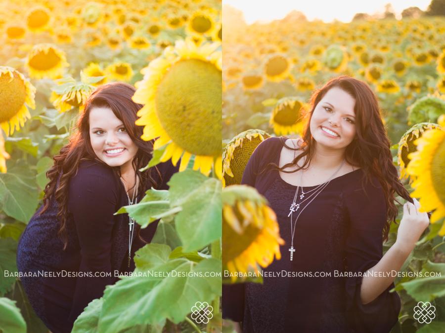 Gorgeous senior girl in sunflower field at sunset