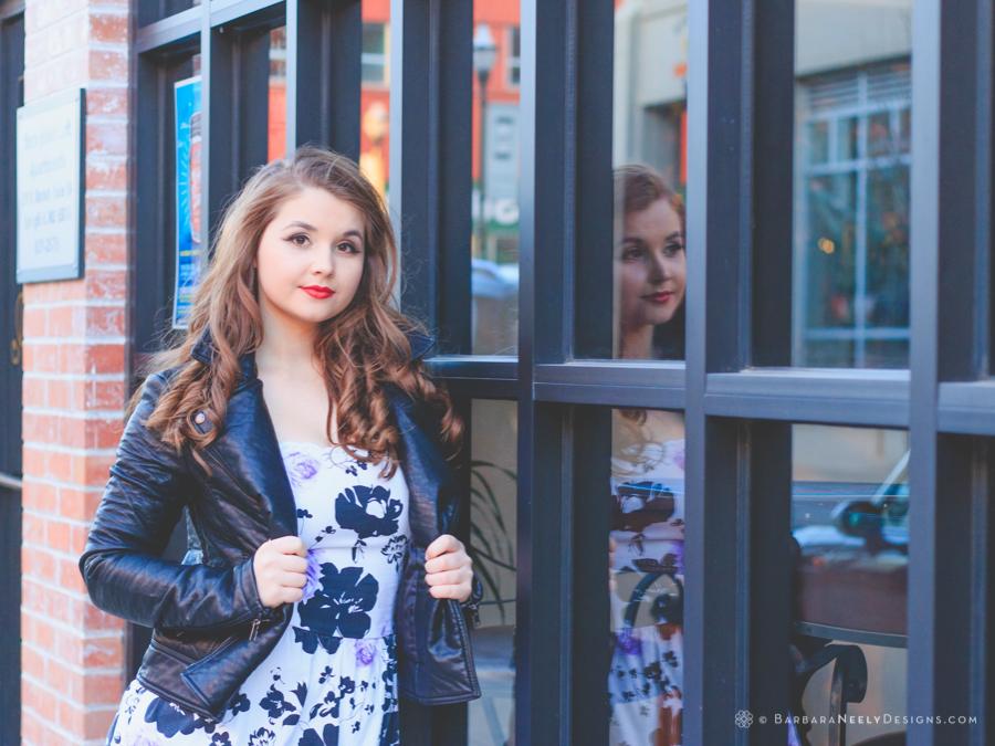 Fashion inspired senior girl portraits downtown Springfield, MO