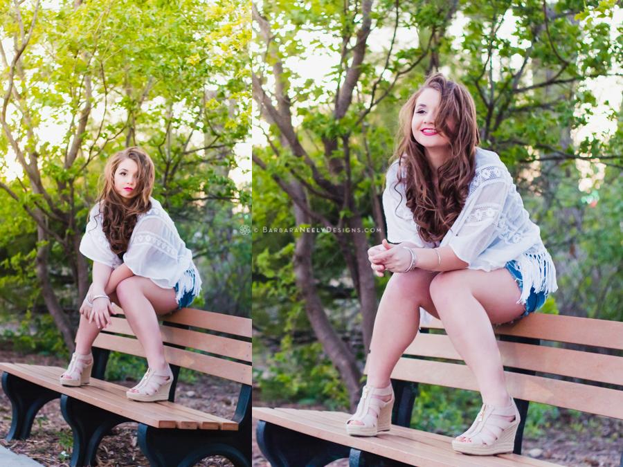 Fashion inspired senior girl portraits on a park bench