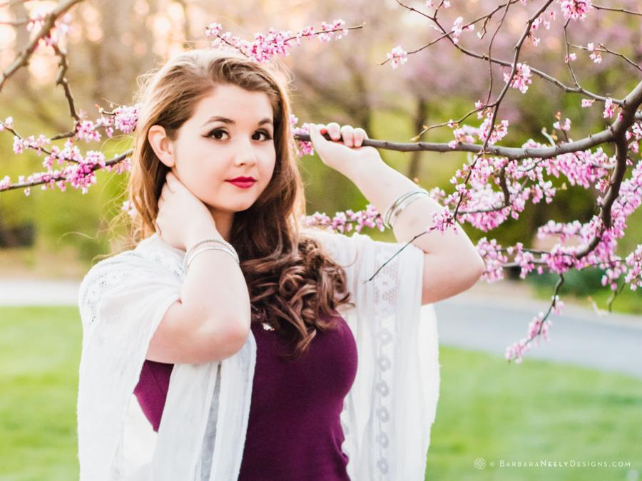Beautiful senior girl portrait in spring