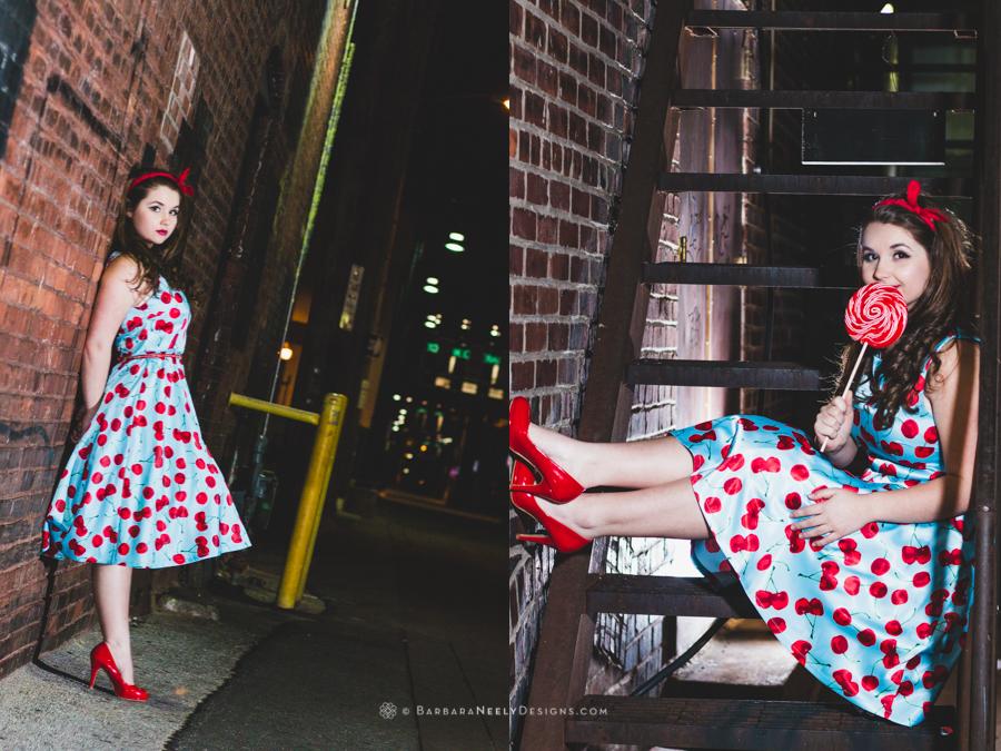 Retro inspired senior girl portrait in urban setting