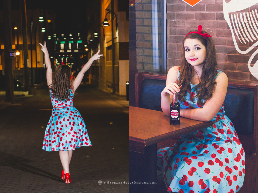 Retro inspired senior girl drinking a soda