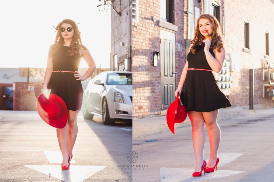 Glamour style senior girl portraits downtown Springfield, MO