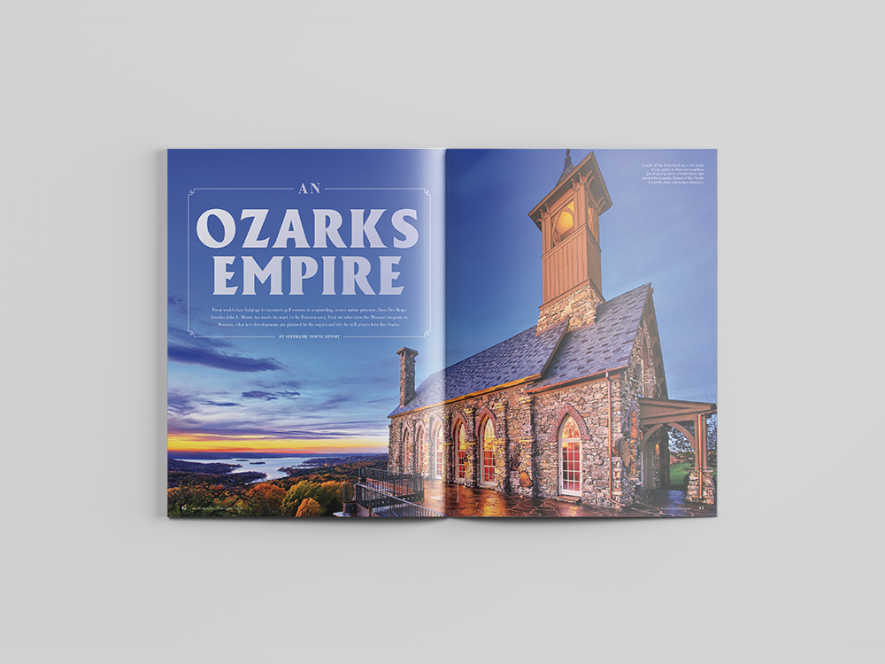 """""""Ozarks Empire"""" feature for 2017 Branson Visitor's Guide."""