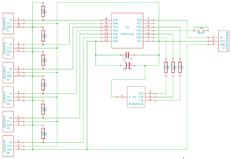 v0.4 schematic, showing six dendrite connectors with pulldown resistors, ATtiny44A microcontroler, bypass capacitors, RGB LED with current limiting resistors, and single axon terminal.
