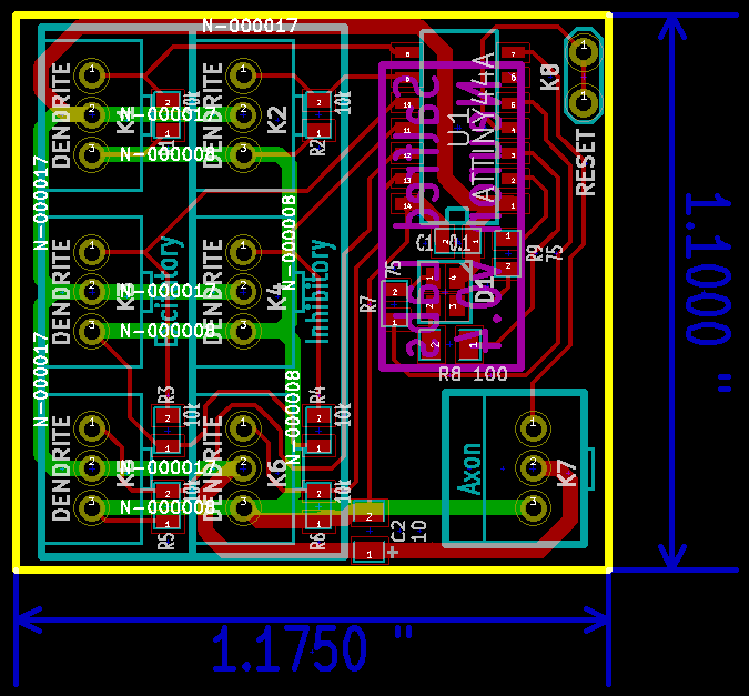 v0.4 final board layout with dimensions. Zach was unnecessarily proud of the lack of vias.