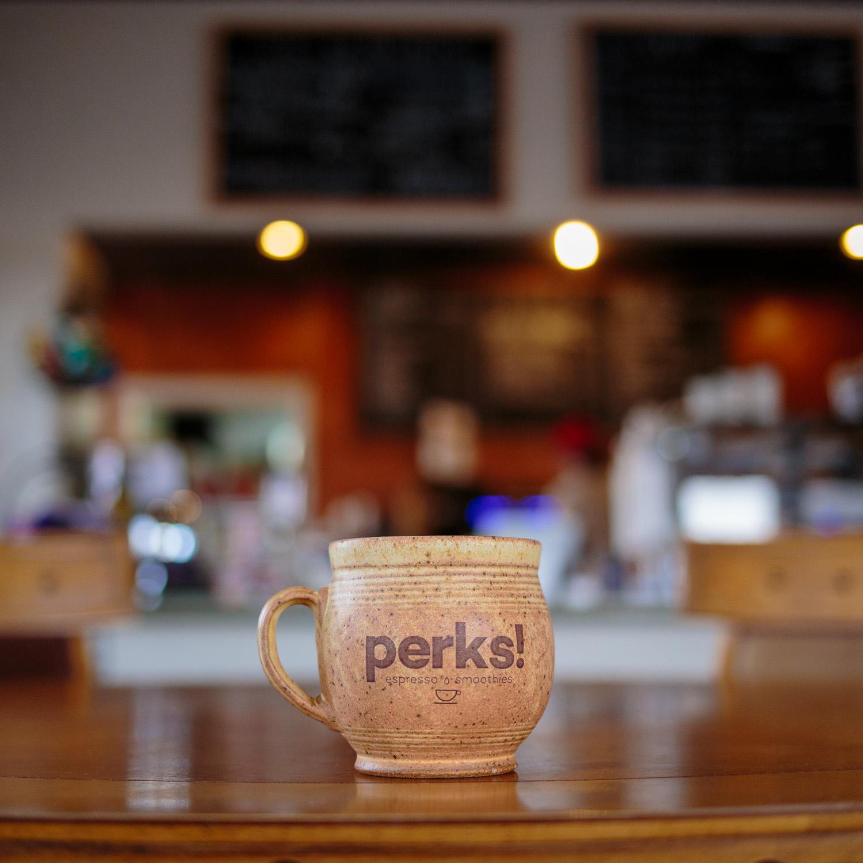 Custom Ceramic pottery coffee cup Perks Espresso