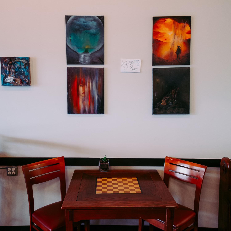 Artwork at an industrial styled coffee shop in Utah