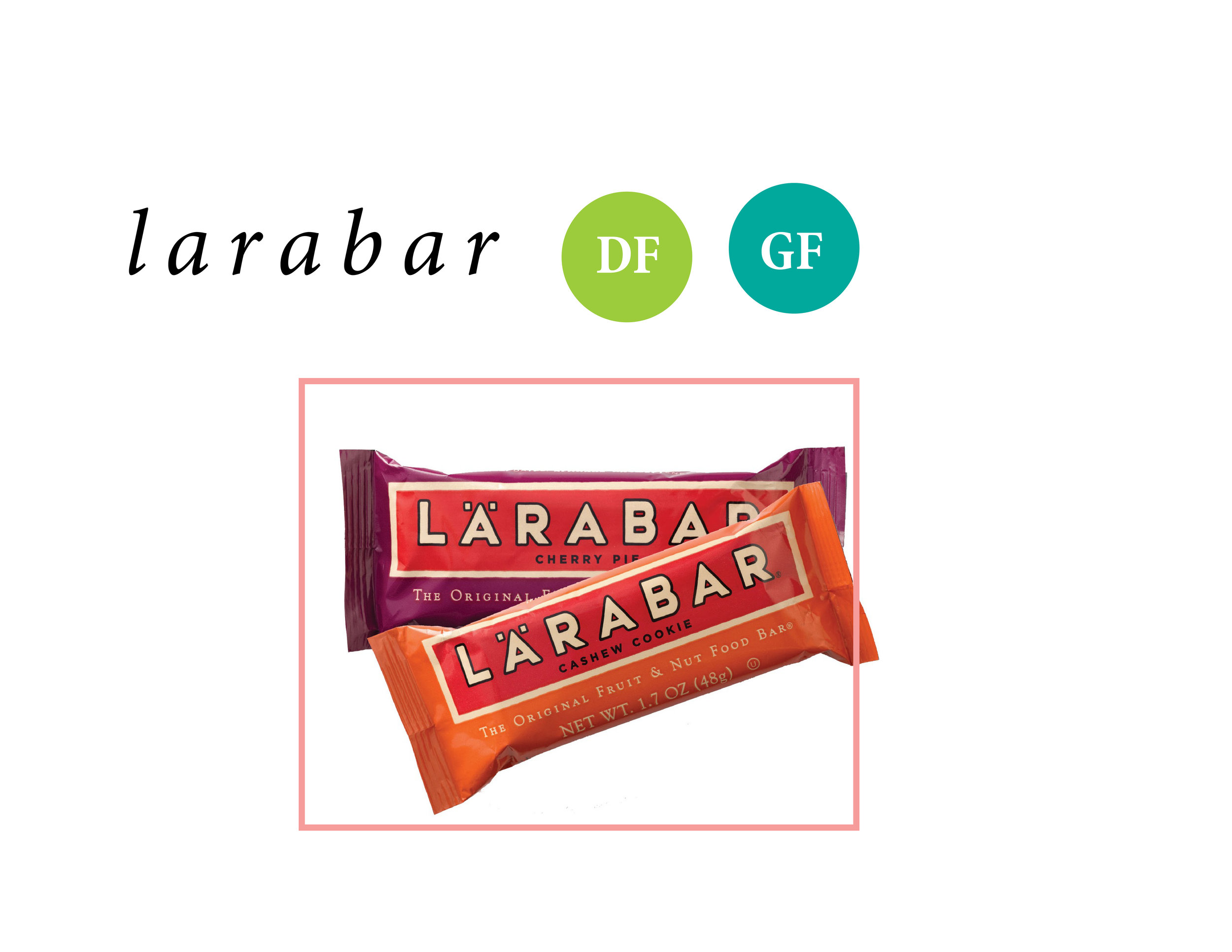 I'm obsessed with Lara Bars. They keep me full for a long time, they're made with fruits and nuts and granola and are totally fun because of all of the flavors they offer! They have anything from Key Lime Pie, Apple Pie, Chocolate Chip Cookie Dough and lots lots more. You can even order a variety pack to try them all!