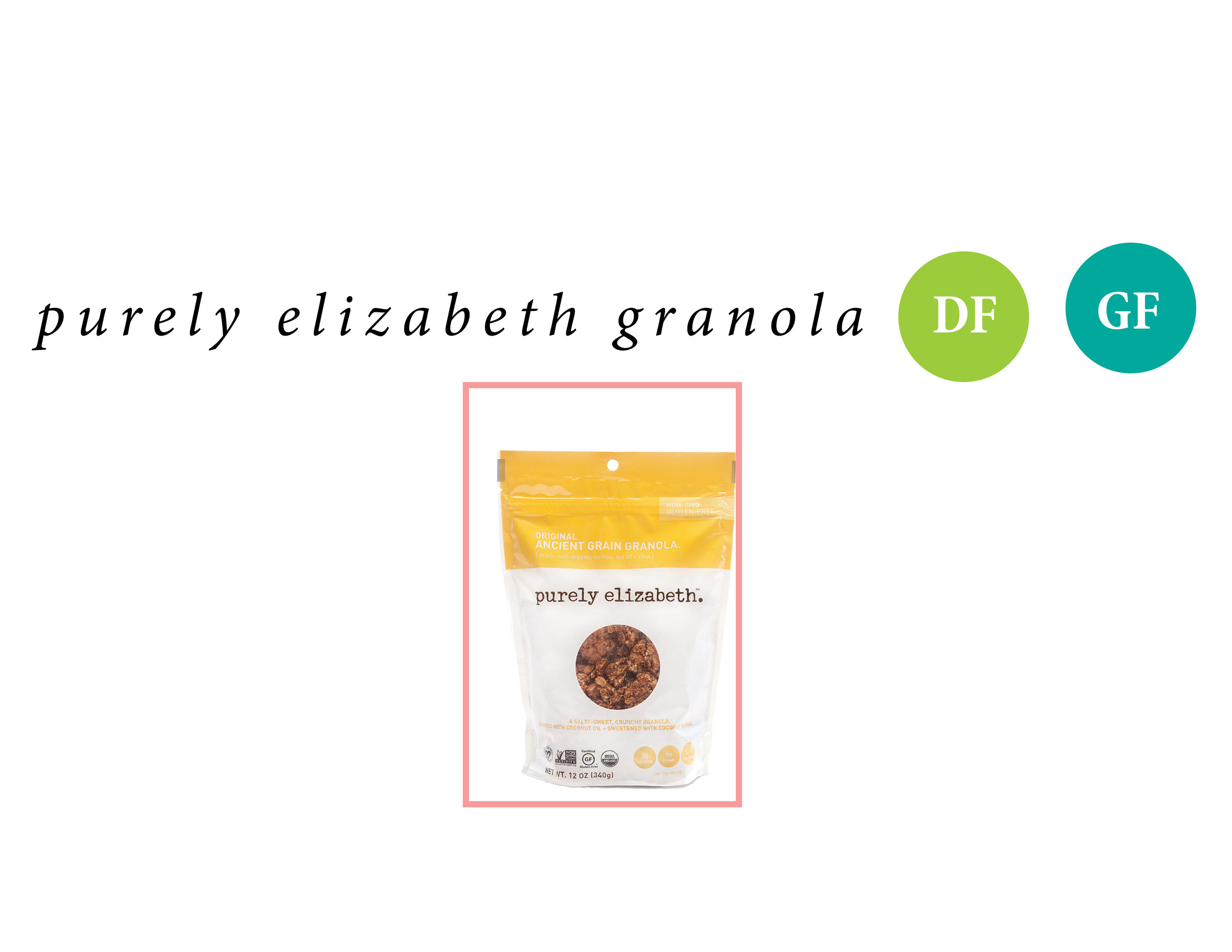 If you're a cereal girl, like me, this one is for you. I love my Lucky Charms. Fruity Pebbles, allllll the sugary stuff. Purely Elizabeth granola comes in crazy good flavors. Pour some almond milk ontop, throw it on some greek yoghurt, or just eat it from the perfectly packaged bag.